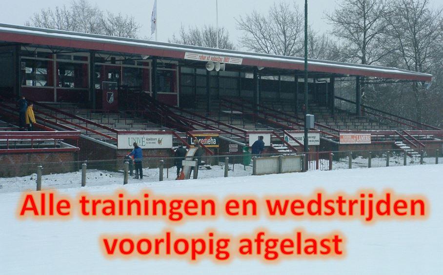 Geen training en wedstrijden