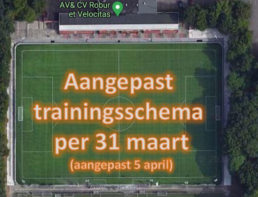 Aangepast trainingsschema per 31 maart